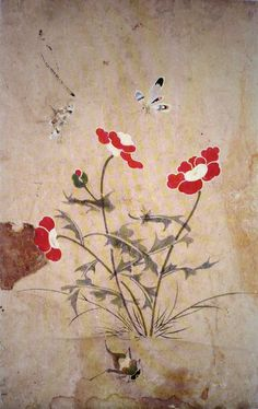 (Korea) 양귀비꽃과 호랑나비 by Lady Shin Saimdang (1504-1551). ca 16th century CE. Joseon Kingdom, Korea. colors on paper.