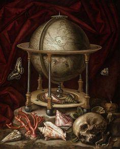 Christian Luycks - Vanitas Still Life with Terrestrial Globe