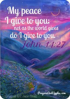 """Peace I leave with you, My peace I give to you; not as the world gives do I give to you. Let not your heart be troubled, neither let it be afraid."" ♥ John 14:27 