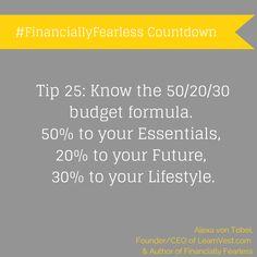 #25days: Know the 50/20/30 budget formula!