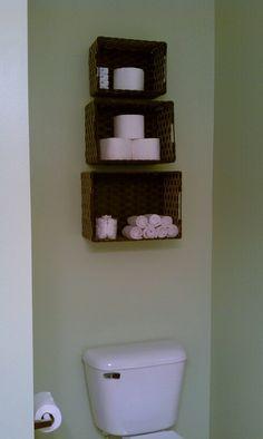 My version of the space saver. Love it! So brilliant. #DIY #Space #Saver #Bathroom Bathroom Shelves, Bathroom Storage, Small Bathroom, I Need Space, Makeup Brush Storage, Downstairs Toilet, Farmhouse Design, California Homes, Space Saver