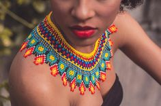 Diy Necklace, Collar Necklace, Crochet Necklace, Fringe Necklace, Candy Jewelry, Bead Jewellery, Diy African Jewelry, Handmade Necklaces, Handmade Jewelry