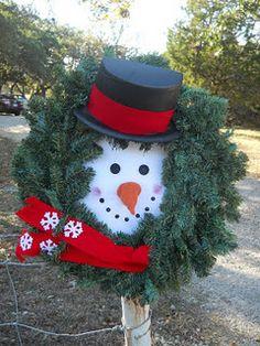 Christmas wreath turquoise diy snowman do it yourself my diy do diy yourself snowman wreath so easy and under 20 solutioingenieria Gallery