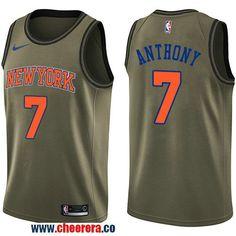 1e1112bac22 Men s Nike New York Knicks  7 Carmelo Anthony Green Salute to Service NBA  Swingman Jersey