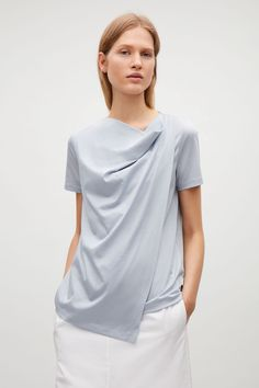 COS image 7 of Draped collar top in Sky Blue