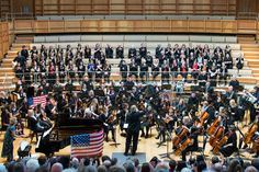 The University Chorus and Orchestra, with pianist Helen Crayford, in an all-American programme, performing in Colyer-Fergusson Hall, April Photo: Greg Cooper University Of Kent, Orchestra, Basketball Court, American, Music, Musica, Musik, Music Games, Music Activities