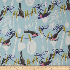 Michael Miller Don't Let The Bird Do The Dishes Powder Blue from @fabricdotcom  Designed by Michael Miller, this cotton print fabric is perfect for quilting, apparel and home decor accents. Colors include gold, grey, purple and white on a powder blue background.
