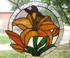 Stained glass window panel Lily Suncatcher Handmade Orange flower Glass art by MyVitraz on Etsy