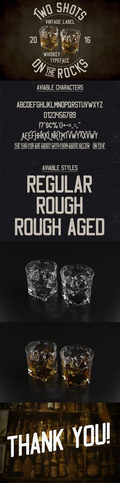 """Here is a classic look label typeface named """"Two Shots"""". It's made in strong and vintage label style. Font is perfect for any labels design of gin, absinthe, Gothic Fonts, Vintage Labels, Cool Fonts, Glyphs, Label Design, The Rock, Shots, Rocks, Poster Templates"""