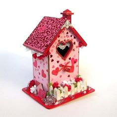 Valentine Birdhouse Valentines Day Decor February by rrizzart Shabby Chic Birdhouse, Garden Of Lights, Bird Houses Painted, Creative Box, Love Valentines, Valentine Cards, Pink Paper, Valentine Decorations, Red And Pink
