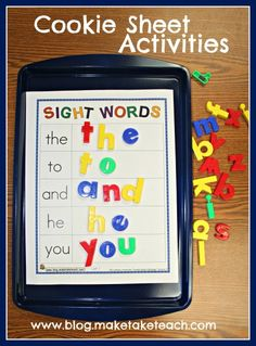 Building sight words on a cookie sheet! Cookie Sheet Activities for sight words, blends/digraphs and word families! Learning Sight Words, Sight Word Activities, Literacy Activities, Preschool Activities, Literacy Centers, Learning Activities For Toddlers, Preschool Sight Words, Sight Word Centers, Sight Word Practice