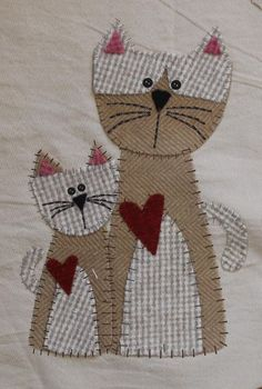 May Wooly Mystery Block - Orginal Wool Applique - Medizinische Cat Applique, Applique Patterns, Applique Quilts, Quilt Patterns, Cat Crafts, Sewing Crafts, Sewing Projects, Drunkards Path Quilt, History Of Quilting