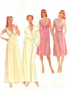 #Butterick 4096 Empire #Nightgown / Wrap Robe #Pattern - V Neckline / Two Lengths - Size M 12-14 - Uncut. #sewing #diy
