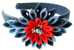 A flower is made in the technique of tsumami kanzashi.  Plastic headband is weaved with satin ribbon.  Flower is made from grosgrain ribbons. Flower`s d is