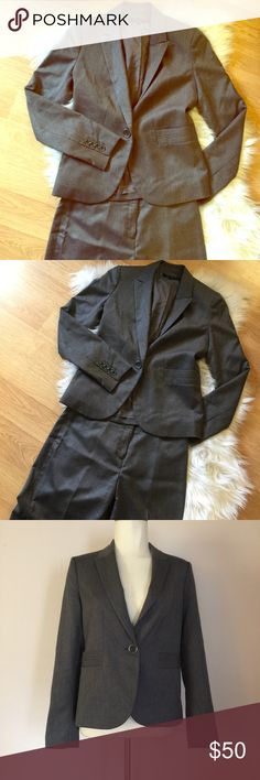 """Anne Klein 2 Pc. Grey Suit Set Career Wear Small 2 Anne Klein 2 pc suit set with blazer and pants. Worn and dry cleaned only, this suit set is in mint condition. No stains, rips, or signs of wear. If you have an interview this is the outfit to wear. Suit is a dark grey that goes with just about anything. Fabric is polyester and rayon with stretch. Both pcs are a size 2. Pants measure 30"""" at waist, 36"""" at hips, and length is 32"""". Blazer is 32"""" across bust, 30"""" at waist, and sleeve length is…"""