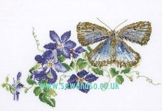 Common Blue Butterfly and Clematis Cross Stitch Kit