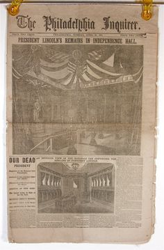 April 1865 Abraham Lincoln Assassination Newspaper of the Philadelphia Inquirer. American Presidents, American History, Abraham Lincoln Family, Lincoln Assassination, Independence Hall, Philadelphia Inquirer, Old Newspaper