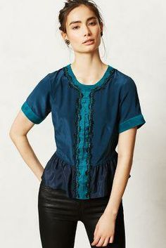 70540b8301d8f Anthropologie Channeled Ciel Top by... ANTHROPOLOGIE $128.00 Peplum Blouse,  Blouse Outfit,
