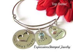 Lucky Charm Bangle for Mom's, Personalized bracelet hand stamped with children's names and birthstones.