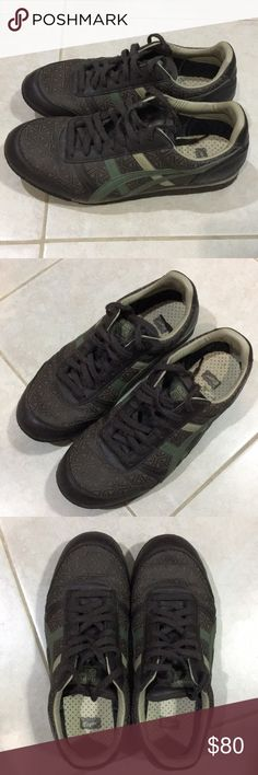 Onitsuka Tiger Men's Size 9.5 Brown/Green Sneakers A pair of men's Onitsuka Tiger size 9 and a half brown and green sneakers in excellent condition. Barely worn. Kept in a clean and smoke free environment. Onitsuka Tiger by Asics Shoes Sneakers