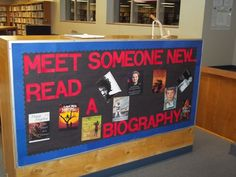This one can be used at any time. I put up book jackets of different Biographies that we have in the library.