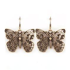 Joji Boutique - antiqued gold filigree butterfly drop earrings, (http://www.jojiboutique.com/products/antiqued-gold-filigree-butterfly-drop-earrings.html)