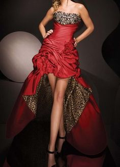 Hot Red Wedding Leopard Evening Dress Prom Gown Formal by VEIL8