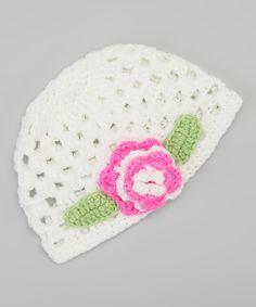 White & Light Pink Flower Beanie