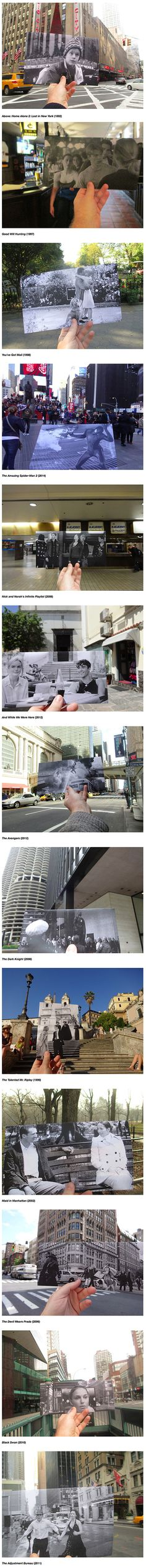 Canadian photographer Christopher Moloney brings the magic of cinema to life with FILMography, an ongoing art project that matches scenes from movies with their real-life, present-day locations. After printing out a black-and-white still from a film, Moloney holds up the print and snaps a photo of it aligned perfectly with the actual building, street, or or landmark behind it.