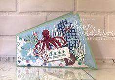 Debbie's Designs: Sea Of Textures Twisted Card Fold & Video. Stampin' Up! Sea Of Textures stamp set, Under The Sea Dies & Tranquil Textures Designer Paper. Debbie Henderson #stampinup #debbiehenderson #debbiesdesigns #seaoftextures #underthesea #tranquiltextures #twistedcardfold #cardfold