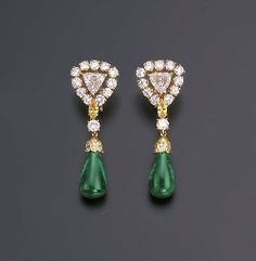 A PAIR OF FINE EMERALD AND DIAMOND EARRINGS, BY CARTIER | Christie's