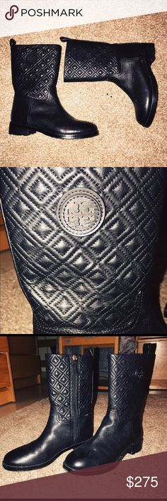 Tory Burch Marion Quilted Boots BARELY worn, no flaws, very cute for the cold seasons! Tory Burch Shoes Ankle Boots & Booties