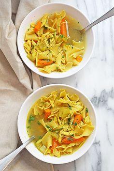 13. Chicken Noodle Soup #crockpot #soups http://greatist.com/eat/slow-cooker-soup-recipes-so-you-can-serve-dinner-asap