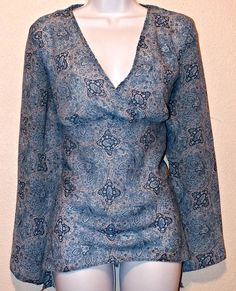 Women's Long Sleeve Paisley Print Blue Fashion Bug Blouse Top Size M #FashionBug #Blouse #Casual