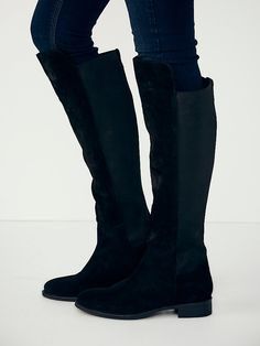 free people: seychelles. verses tall boot. black suede. #shoes