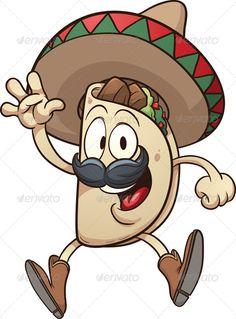 Buy Mexican Taco by memoangeles on GraphicRiver. Cartoon taco wearing a sombrero. Vector clip art illustration with simple gradients. Taco and sombrero on separate la. Mexican Birthday Parties, Mexican Party, Clipart, Taco Cartoon, Tacos Mexicanos, Mexican Flowers, Mexican Tacos, Cartoon Sketches, Doodle Art