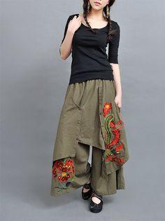 multi-layered wide leg embroidered pants, so boho Boho Fashion, Womens Fashion, Fashion Design, Mode Hijab, Mori Girl, Skirt Pants, Dress Skirt, Wide Leg Pants, Wide Legs