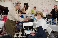 Maria Costello MBE at Vintage Hair Lounge at Goodwood Revival 2012 by Scott Chalmers using an Easydry Cape