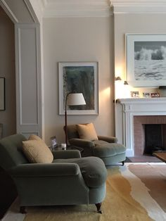 Wall colour Benjamin Moore Niveous A Spring-Inspired Whole-House Paint Palette - love this elegant living room with English style club chairs. Room Decor, Room Inspiration, Decor, Furniture, Living Room Inspiration, Home, Interior, Elegant Living Room, Elegant Living