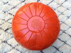 Orange Leather Ottoman Pouf - Its one of Healing Colors X Leather Pouf, Leather Ottoman, Pouf Ottoman, Orange Home Decor, Power Colors, Orange House, Orange Leather, Carpet, Healing