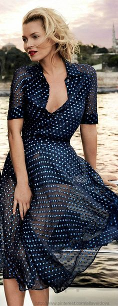 Sheer 50's house wife dress with dark single colored bodice underneath Kate Moss in Gucci