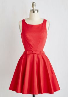 Classic Twist Dress in Ruby. Consider yourself something of a modern-day Audrey in this bright red, bow-topped dress! #red #modcloth