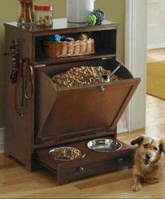 Rangement + bol de nourriture & d'eau pour chien / chat