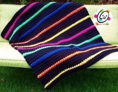 Modern Classic Striped Afghan - LOVE THE WAY THE COLOURS POP OUT OF THE BLACK!!  EASY, 6.5 MM, #4 OR ARAN YARN