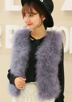 Vagary New Fashion Faux Fur Vest Women Warm Winter Sleeveless Coat Solid Ostrich Feather Spliced V Neck Short Outwear 11 colors