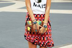 bold and bright. turquoise ring+bracelet combo and geometric printed skirt with tropical print clutch.