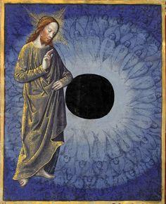 Pierwszy dzień stworzenia, oddzielenie śwatła od ciemności, Horae ad usum romanum, c. 1401-1500, Latin 920, f. 2v, Bibliothèque Nationale de France, Département des manuscrits.
