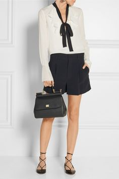 Dolce & Gabbana - Black textured-leather (Calf) Magnetic snap-fastening front flap Comes with dust bag Weighs approximately 2.4lbs/ 1.1kg Made in Italy