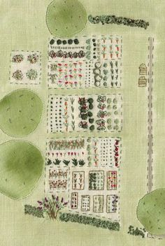 Gardening with a needle.  I really love this needlework garden design. via