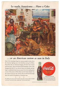 Coca-Cola WWII Soldiers Italy Have a Coke Benton Clarke Art Vintage '40s Original Ad 1945 #CocaCola #1940s